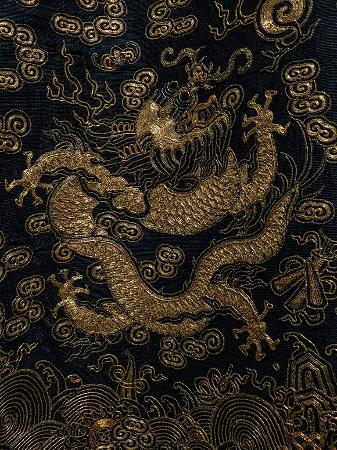 Closeup Of The Embroidery On A Nine Dragon Summer Robe China Qing