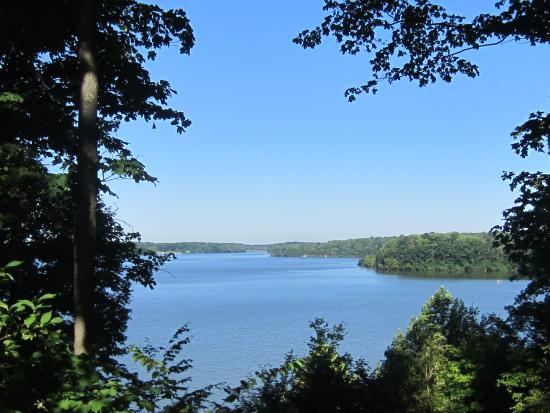 Cowan Lake State Park: View of Cowan Lake from the screened in porch.