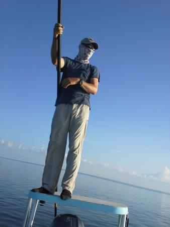 Key Flat Charters: Captain Luke pointing us toward the Tarpon.
