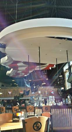 Toby Keith's I Love This Bar & Grill: Giant guitar over the bar area