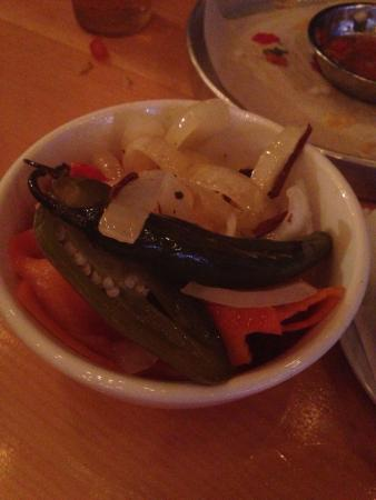 Port Carling, Canada : The pickles are not just pickles but pickled veggies and a variety of pickled hot peppers! Eek!