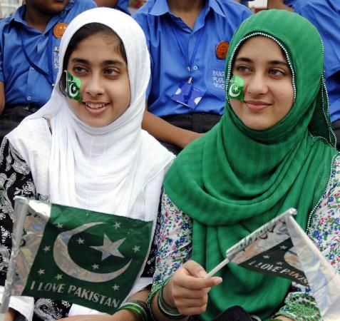 Amritsar, Indien: pakistani girls at border