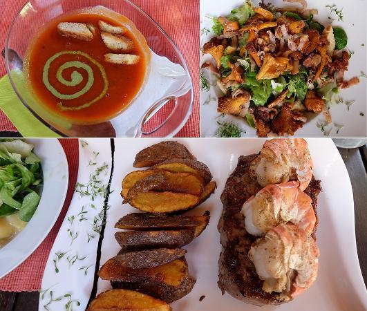 Herzogenburg, النمسا: Tomatensuppe, Salat mit Eierschwammerl, Surf & Turf