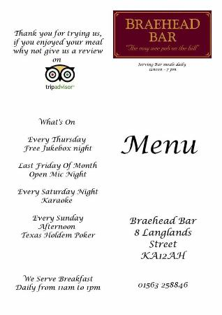 Восточный Эйршир, UK: A copy of our menu, we serve bar meals daily from 12 noon untill 7pm and breakfast from 11am unt