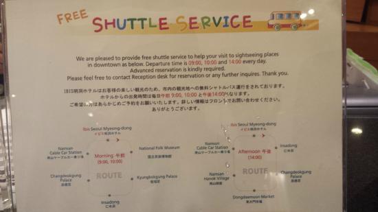 ibis Ambassador Seoul Myeongdong: Shuttle bus