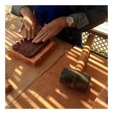 Silver Canyon Pottery : Pressing the clay into the mold