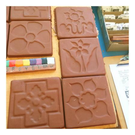 Silver Canyon Pottery : Finished tiles waiting to be painted and fired