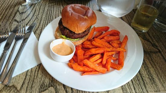 The Bridge: 6oz steak burger with sweet potato fries.