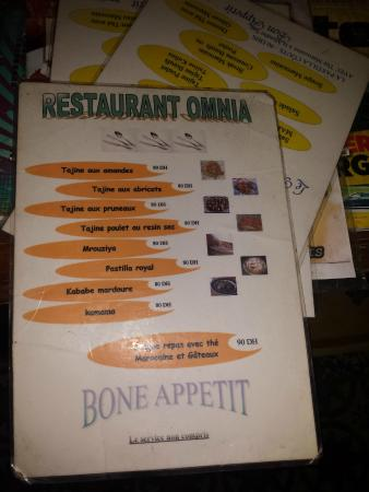 Restaurant Omnia : One of the two menus (not the set menu - bone appetit...!)