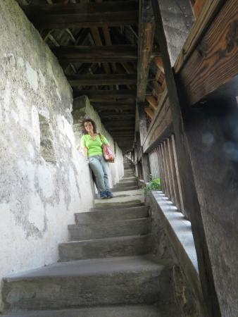 Esslinger Burg: la lunga scalinata del camminamento di ronda