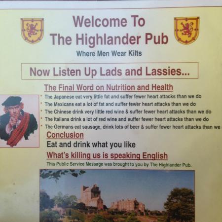 Highlander Pub: Hilarious Menu