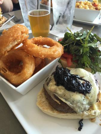 Square Burger : Tempura Onion Rings and Burger with Bleu Cheese and Carmelized Onions
