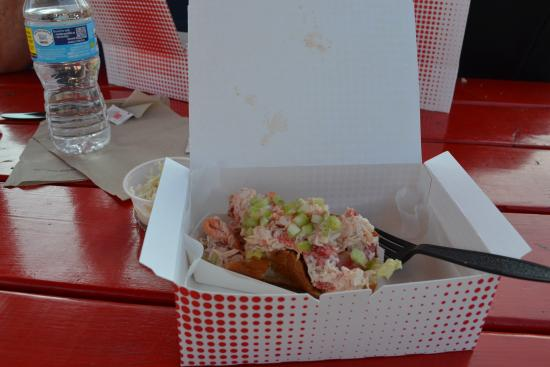 The Ocean Roll: Lobster Roll served in red cardboard box