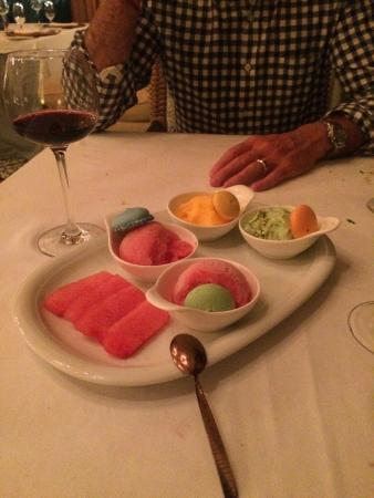 La Mesa: fresh made watermelon, mango, and pistachio sorbet with french macarons