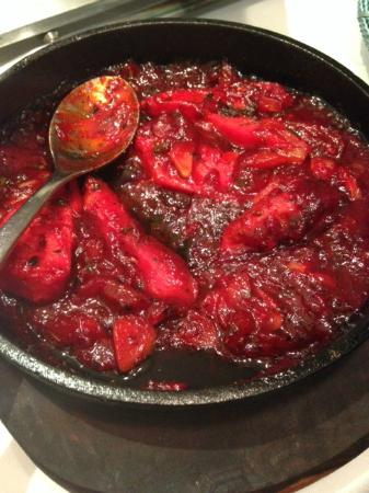 The Bright Red Chicken Dish Very Sweet Very Red Picture Of