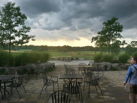 Orchard Park, NY: The view from the restaurant at Harvest Hill.