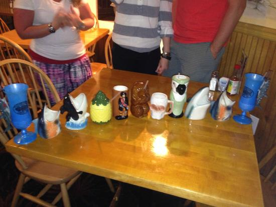 Here are the mugs there were 14 people in our party for Fish bones restaurant