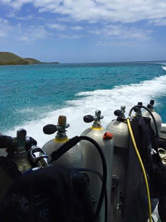 Culebra Divers: View of tanks from covered seating area on boat