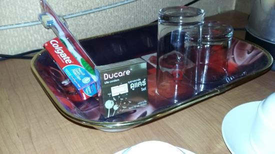 Aunchaleena Bangkok Hotel: Very thoughtful - condoms in the tray.  Lucky there weren't young kids to explain to.