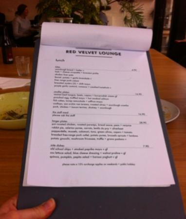 Menu at The Red Velvet Lounge