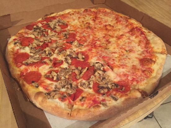 Palace Pizza: 1/2 Pepperoni & Mushrooms and 1/2 Cheese Pizza