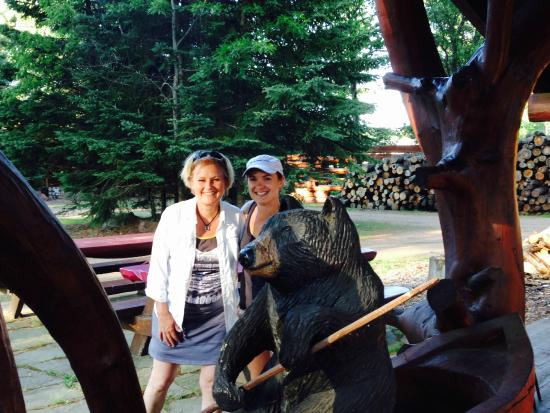 Big Bear Hideaway: One example of the hand carved pieces on the grounds