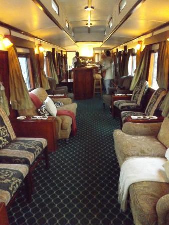 Victoria Falls Steam Train: welcome carriage