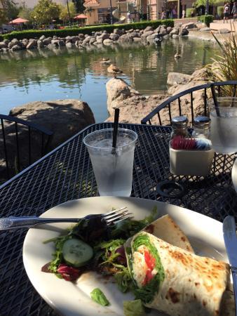 Danville, Kalifornia: Relaxing spot by the water. Ducks galore. So cute & the veggie wrap was quite tasty! (1/2 eaten