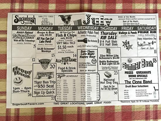 Sugarbush Tavern: Daily specials