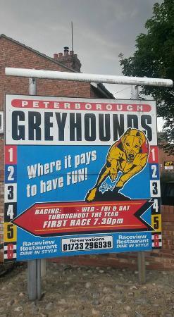 Peterborough Greyhound Stadium: Sign at the entrance