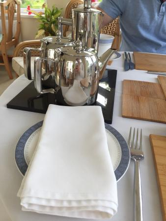 Bokiddick Farm: Highly polished tea and coffee pots. With a hot water refill pot. Proper cotton napkins too.