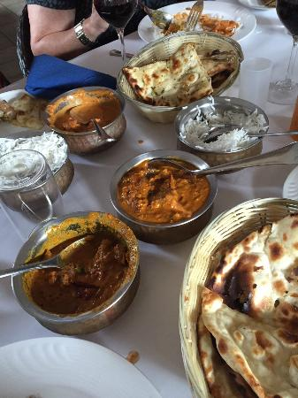 lamb madras, butter chicken, naan bread cooked by us at a Grill and Chill cooking class