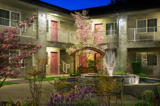 Super 8 by Wyndham Willits : Garden and Fountain Courtyard Evening