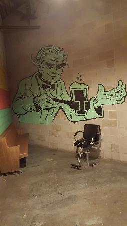 Right Brain Brewery: Artwork leading into righy braina and a waffle sandwich.