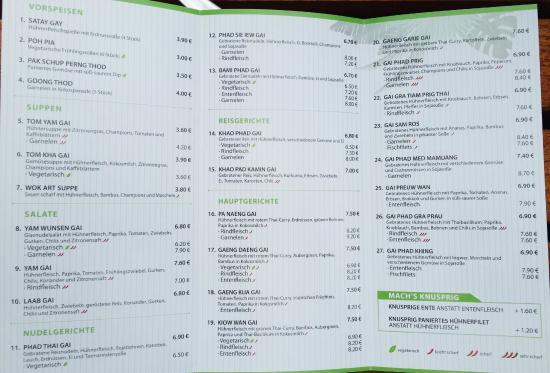 Giessen, Allemagne : Speisekarte