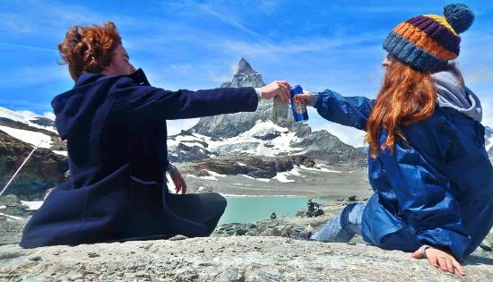 Having some beer at The Matterhorn on the 150 anniversary of the first climb