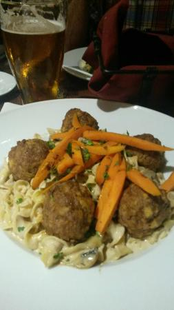 Pecan Grill at the Overton Hotel: Boar meatball stroganoff!  This was phenomenal!
