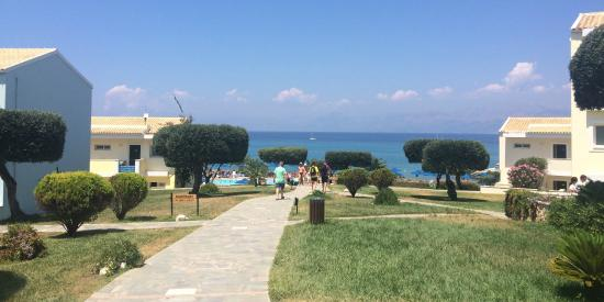 Gardens overlooking Ionian Sea towards Albania
