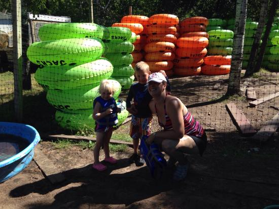 Trego, WI: Kiddos and new tubes since my last visit. Do the upgraded tubes.