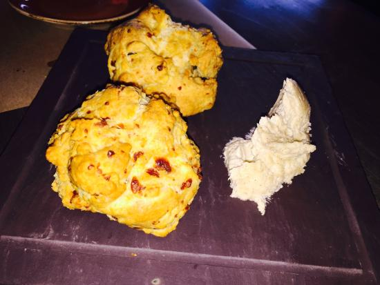 George and Martha's American Grille: Cheddar biscuits with brown sugar butter.