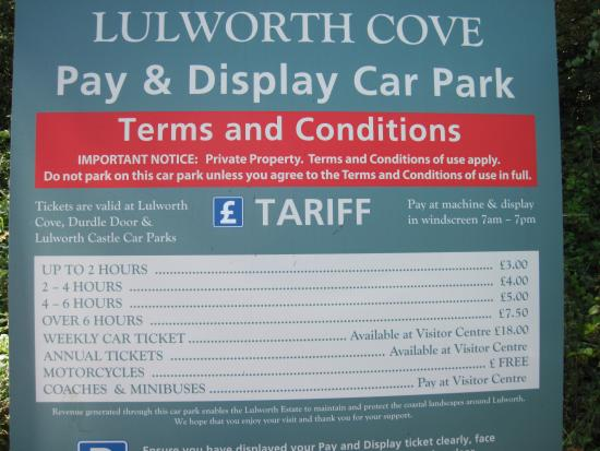 West Lulworth, UK: Lulworth Cove Parking Charges at August 2015.