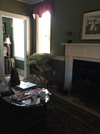 Grice-Fearing House Bed and Breakfast: Our private suite's historic sitting room -A nice spot to read or catch-up w/ e-mails (free WiFi
