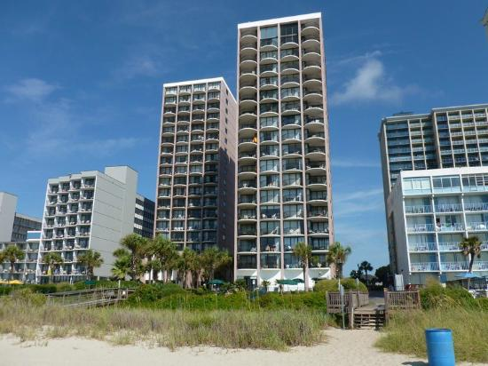 The Palms: The two Palms buildings. Front is 3BRs. Back is 1BRs and can't see up the beach