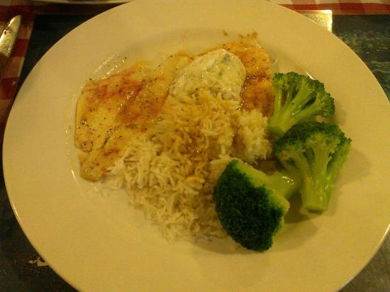 Alto Pass, IL: Wild Alaskan flounder, basmati rice and broccoli