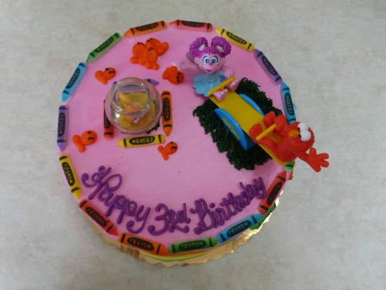 Bings Bakery Abby Elmo PINK Birthday Cake Top View