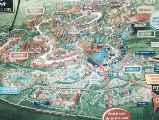 The map of PortAventura Picture of PortAventura Hotel Caribe