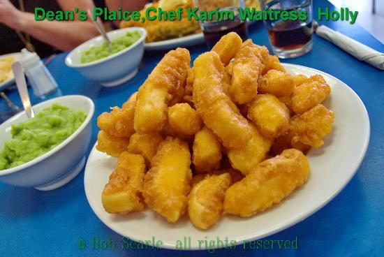 Dean's Plaice: try battered chips with musshy peas