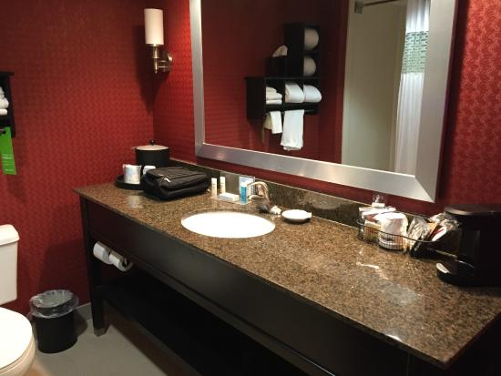 Hampton Inn Columbus Airport: Lots of counter space in the bathroom
