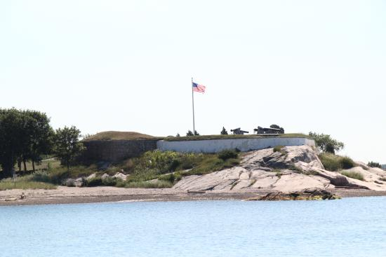 Fort Phoenix State Reservation: View of Fort Phoenix from New Bedford harbor