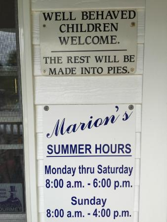 Marion's Pie Shop-: The sign says it all!